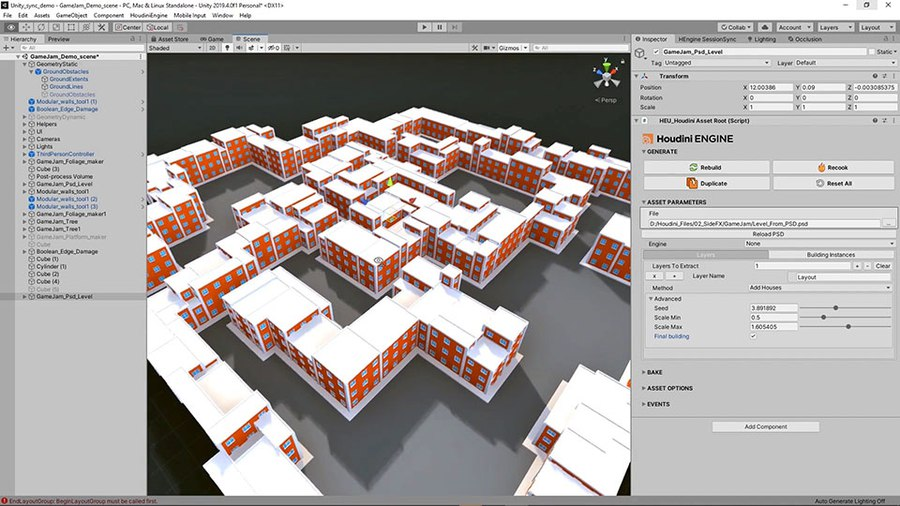 This tool lets you generate a level using a Photoshop PSD file. This creates spaces that can be populated with objects and the walls that divide the spaces can be set up with geometry to create buildings.
