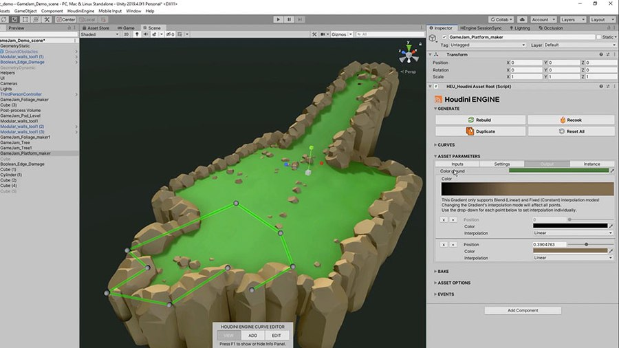 Create platforms for your game using this versatile tool. You can use shapes in your game to drive the placement of the platform or use a curve. You can add an edge to the platform and scatter some debris on its surface.