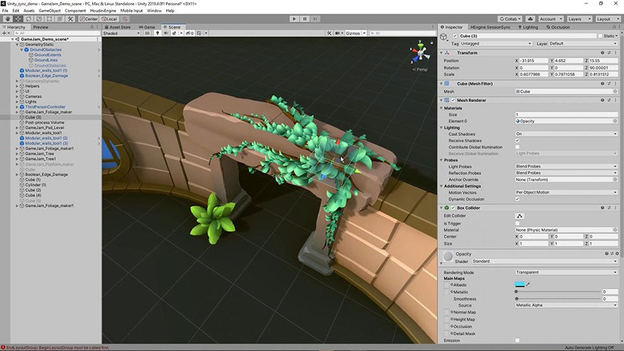 Foliage can be added to your game level as plants on the ground or attached to geometry to create vines. You have control over the shape of the leaves, how many are there and how they interact with other objects.