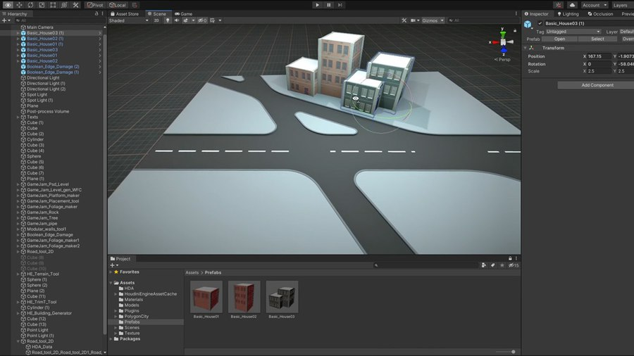 This tool lets you generate a road system using shapes in Unity to define the placement of the roads. You can then control the curbs, roads lines and platform size. You can also set up UVS and inputs for adding materials to the system.
