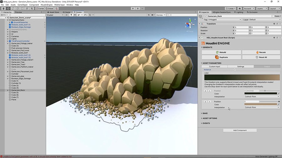 This tool lets you create rock formations to use in your game level.  You can take geometry from your editor and use that to drive the shape of the rocks and you can add smaller rocks where the formations touch the ground.