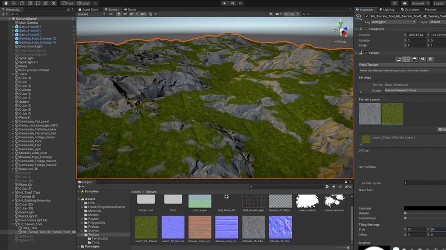 This tool lets you create different kinds of terrain using parameters such as terrain type, size and resolution. You can then input shapes to add or subtract from the terrain to sculpt the look of your landscape. You can then add noise, slump and simulate erosion to add realism to your terrain. You can then save out textures to be used to build a material for the terrain.